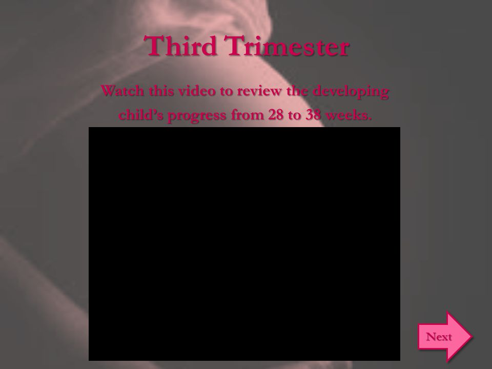 Third Trimester Watch this video to review the developing child's progress from 28 to 38 weeks. Next