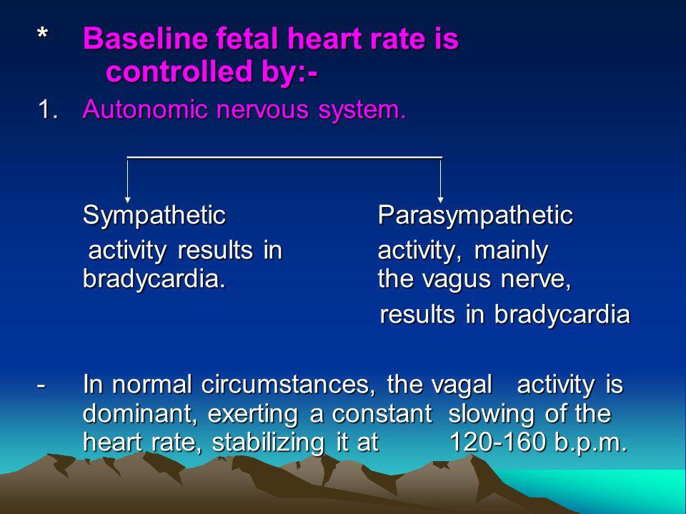 *Baseline fetal heart rate is controlled by:- 1.Autonomic nervous system. _____________________ _____________________ Sympathetic Parasympathetic acti