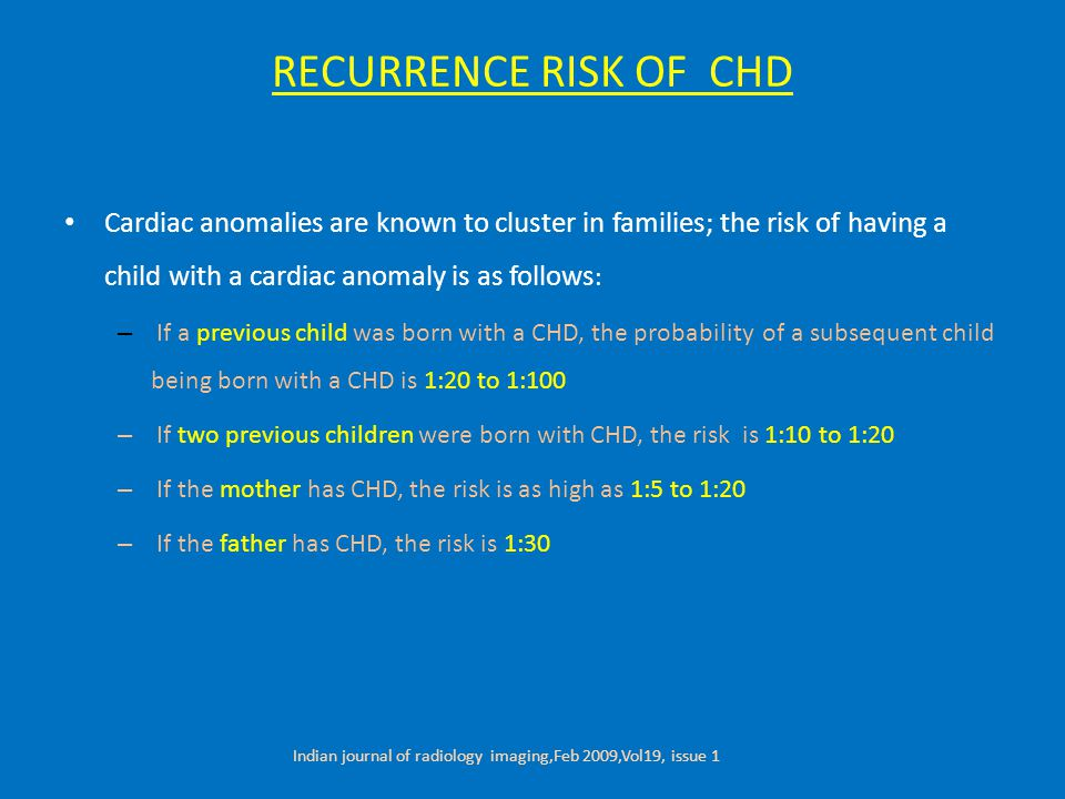 RECURRENCE RISK OF CHD Cardiac anomalies are known to cluster in families; the risk of having a child with a cardiac anomaly is as follows : – If a previous child was born with a CHD, the probability of a subsequent child being born with a CHD is 1:20 to 1:100 – If two previous children were born with CHD, the risk is 1:10 to 1:20 – If the mother has CHD, the risk is as high as 1:5 to 1:20 – If the father has CHD, the risk is 1:30 Indian journal of radiology imaging,Feb 2009,Vol19, issue 1