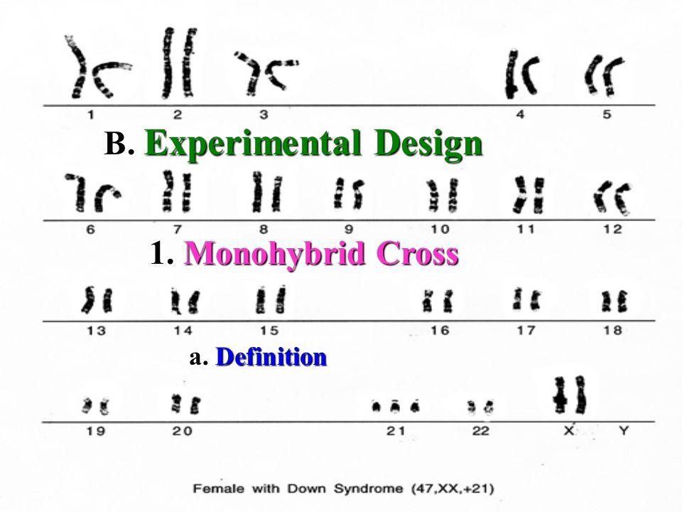 1. Monohybrid Cross B. Experimental Design a. Definition