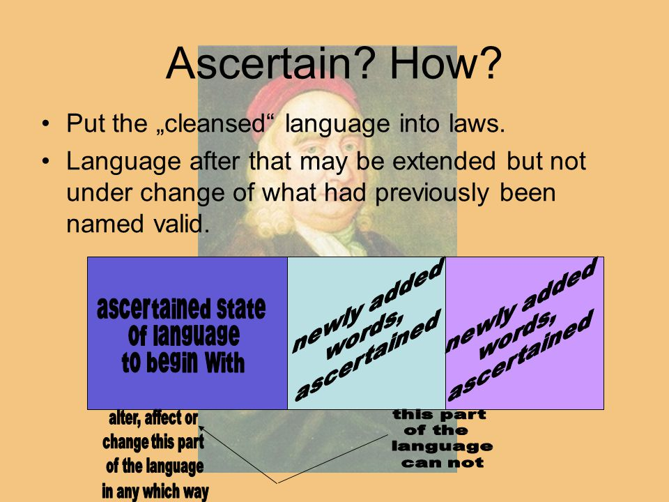 """Ascertain? How? Put the """"cleansed"""" language into laws. Language after that may be extended but not under change of what had previously been named vali"""