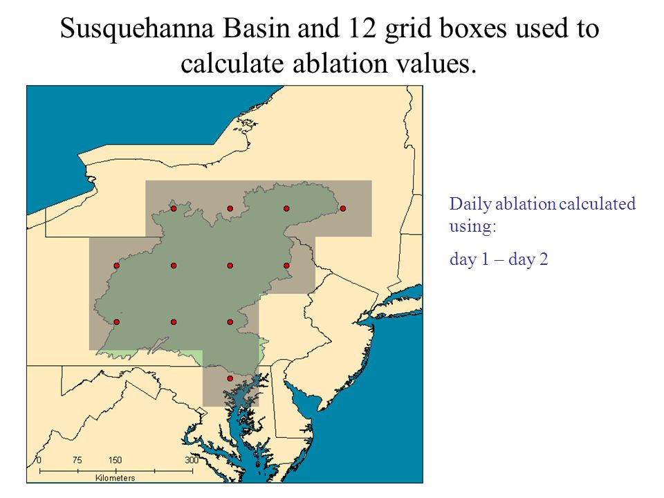 Susquehanna Basin and 12 grid boxes used to calculate ablation values.
