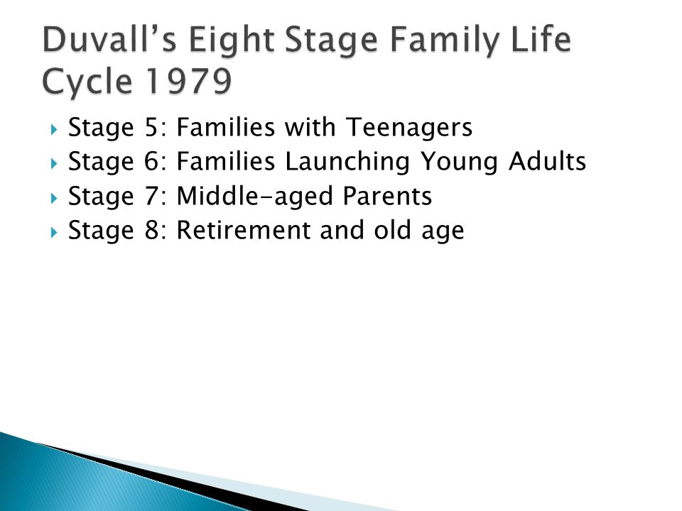  Stage 5: Families with Teenagers  Stage 6: Families Launching Young Adults  Stage 7: Middle-aged Parents  Stage 8: Retirement and old age