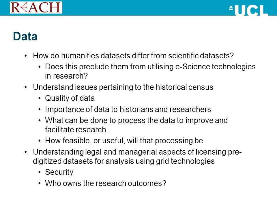 Data How do humanities datasets differ from scientific datasets.