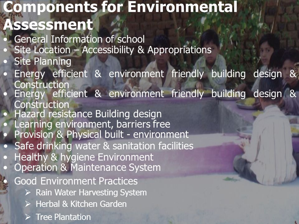Strategies to Mitigate Environmental issues Identify through survey the status of built environment.