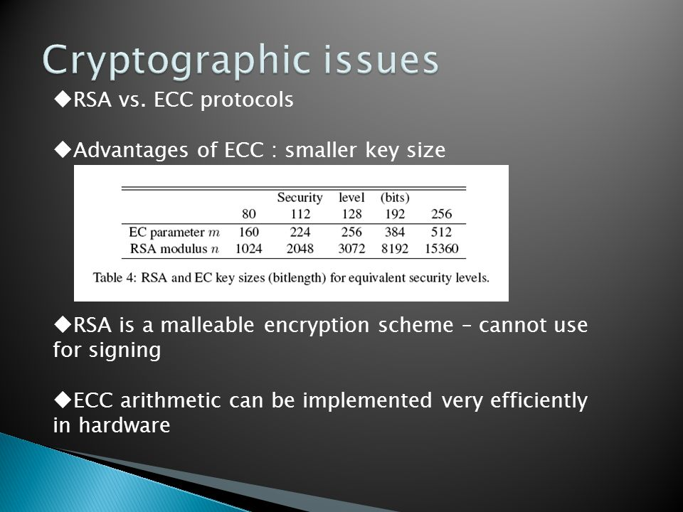  RSA vs. ECC protocols  Advantages of ECC : smaller key size  RSA is a malleable encryption scheme – cannot use for signing  ECC arithmetic can be