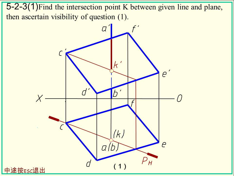 5-2-3(1) Find the intersection point K between given line and plane, then ascertain visibility of question (1).