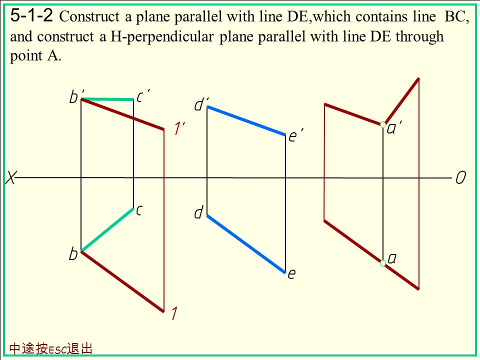 5-1-2 Construct a plane parallel with line DE,which contains line BC, and construct a H-perpendicular plane parallel with line DE through point A.