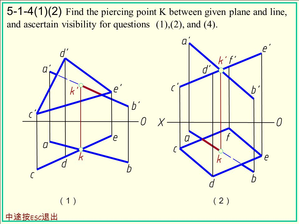 (1)(1)(2)(2) 5-1-4(1)(2) Find the piercing point K between given plane and line, and ascertain visibility for questions (1),(2), and (4).