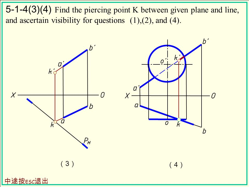 5-1-4(3)(4) Find the piercing point K between given plane and line, and ascertain visibility for questions (1),(2), and (4).