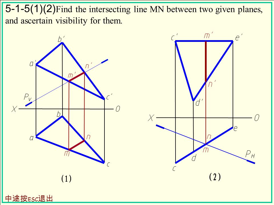 5-1-5(1)(2) Find the intersecting line MN between two given planes, and ascertain visibility for them.
