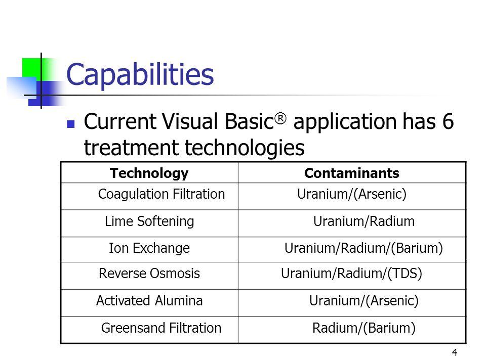 4 Capabilities Current Visual Basic ® application has 6 treatment technologies TechnologyContaminants Coagulation FiltrationUranium/(Arsenic) Lime SofteningUranium/Radium Ion ExchangeUranium/Radium/(Barium) Reverse OsmosisUranium/Radium/(TDS) Activated AluminaUranium/(Arsenic) Greensand FiltrationRadium/(Barium)