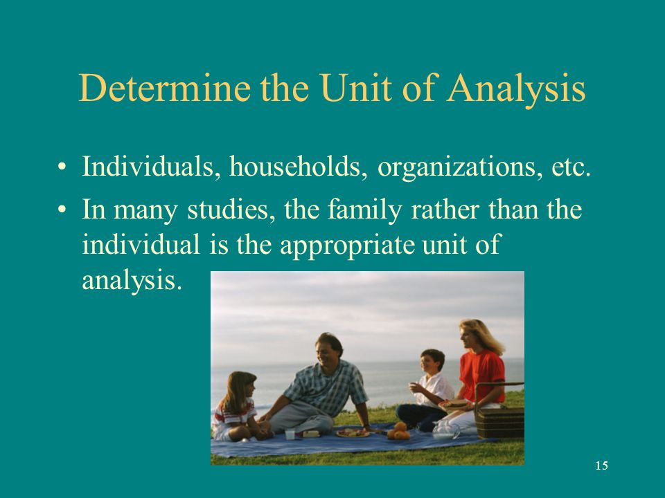 15 Determine the Unit of Analysis Individuals, households, organizations, etc. In many studies, the family rather than the individual is the appropria