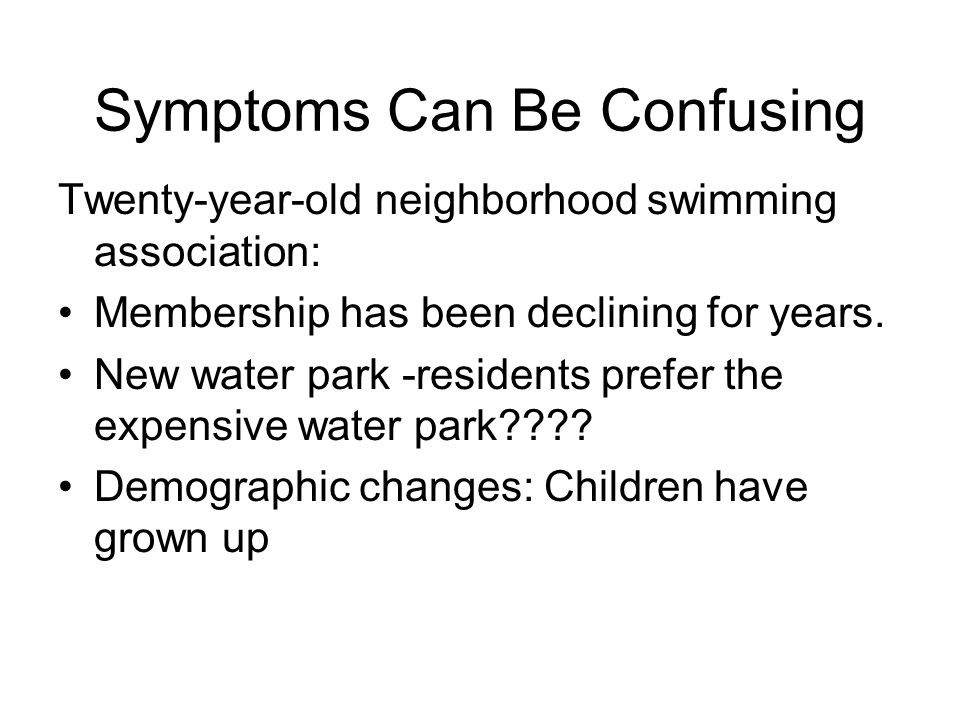Symptoms Can Be Confusing Twenty-year-old neighborhood swimming association: Membership has been declining for years. New water park -residents prefer