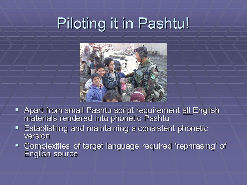 Piloting it in Pashtu.