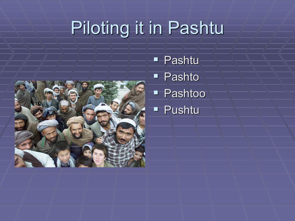Piloting it in Pashtu  Pashtu  Pashto  Pashtoo  Pushtu