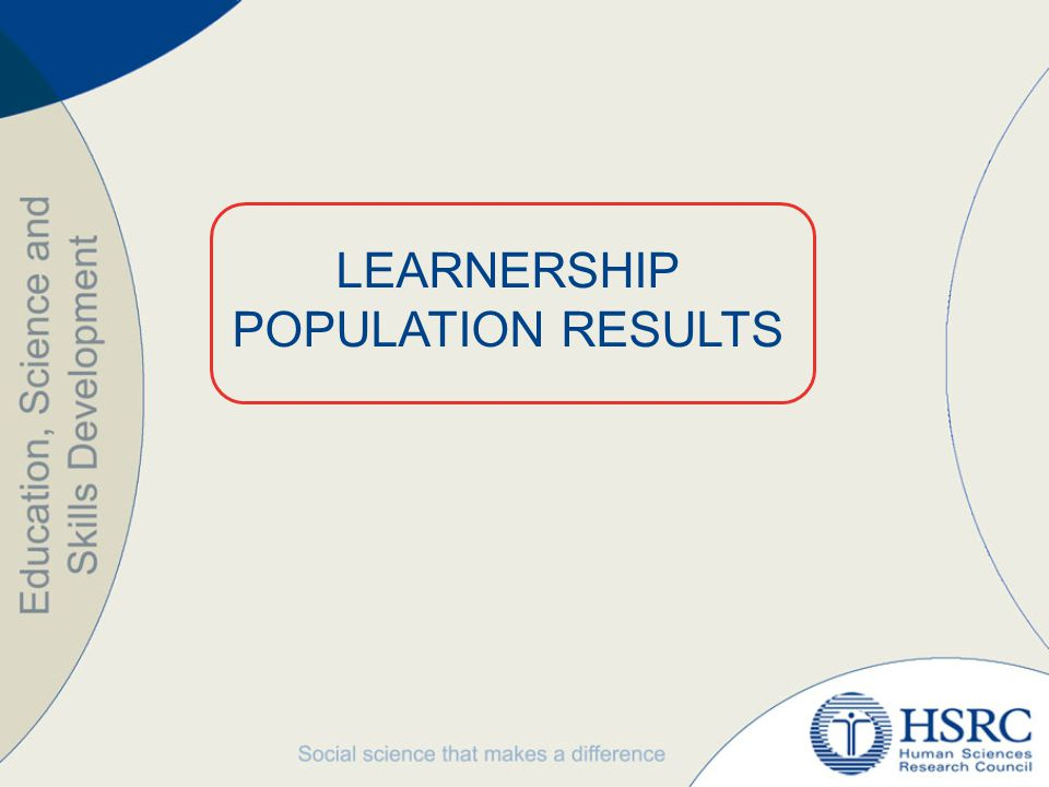 KEY FINDINGS ANALYSIS OF THE LEARNERSHIP POPULATION DATABASE Total population of learnerships: 21 497