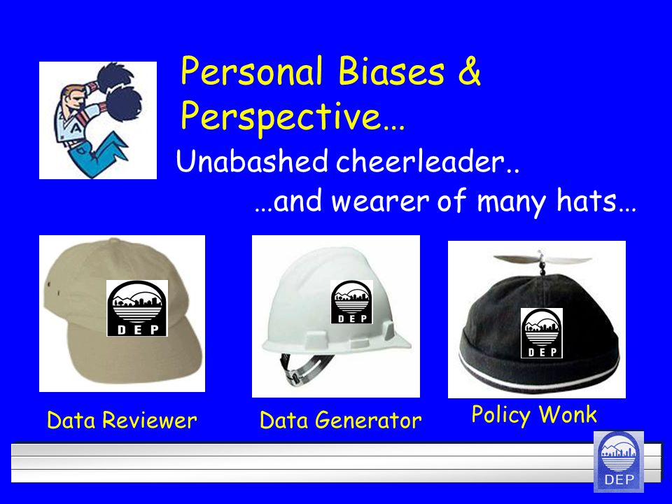 Personal Biases & Perspective… Data ReviewerData Generator Policy Wonk Unabashed cheerleader..
