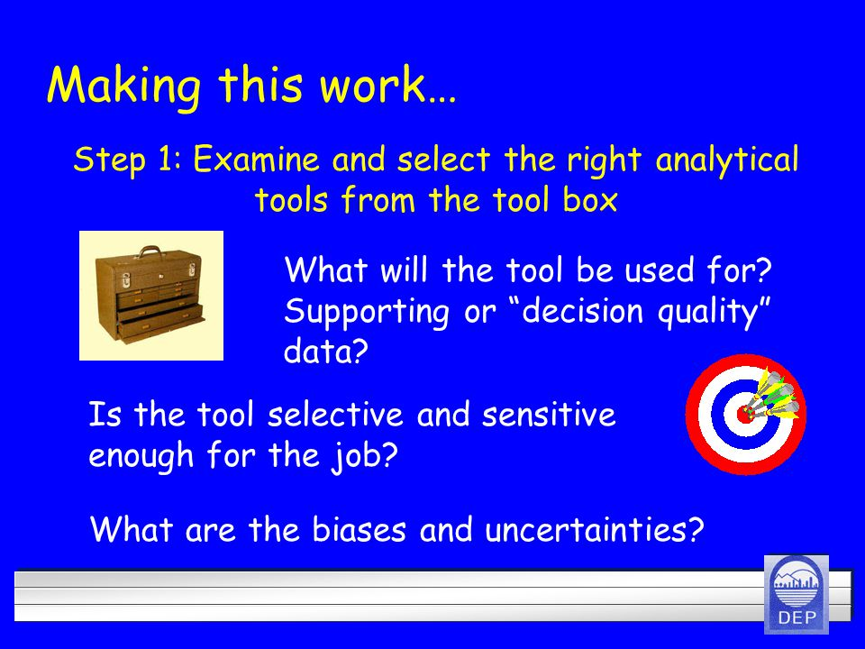 Step 1: Examine and select the right analytical tools from the tool box What will the tool be used for.