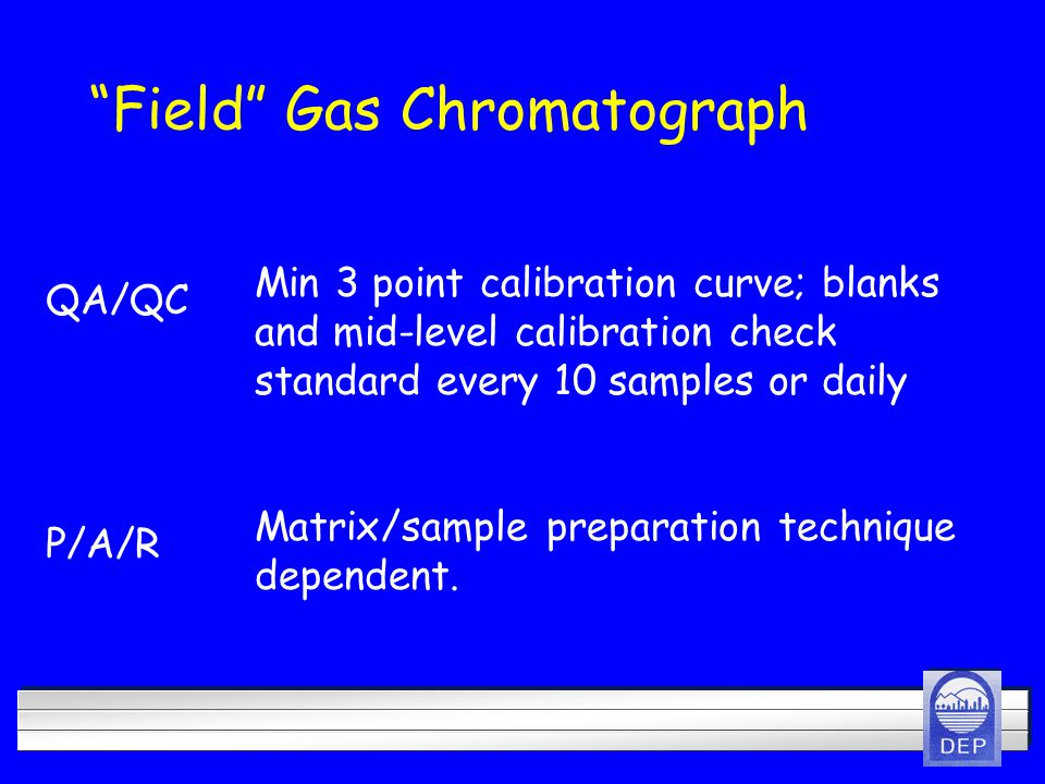 Field Gas Chromatograph P/A/R Matrix/sample preparation technique dependent.