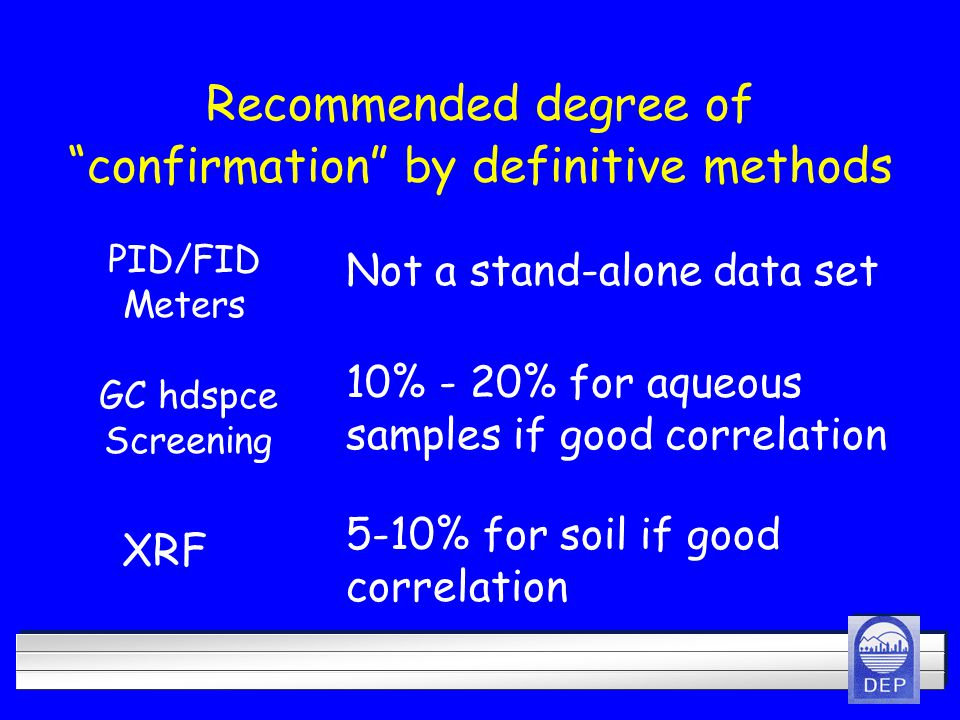 Recommended degree of confirmation by definitive methods Not a stand-alone data set PID/FID Meters GC hdspce Screening 10% - 20% for aqueous samples if good correlation XRF 5-10% for soil if good correlation