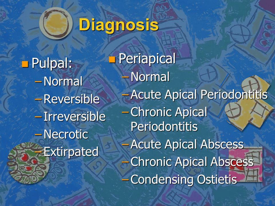 Diagnosis n Pulpal: –Normal –Reversible –Irreversible –Necrotic –Extirpated n Periapical –Normal –Acute Apical Periodontitis –Chronic Apical Periodont