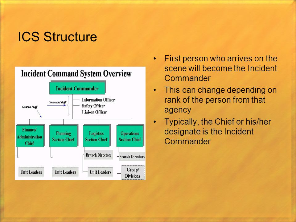 ICS Structure First person who arrives on the scene will become the Incident Commander This can change depending on rank of the person from that agenc