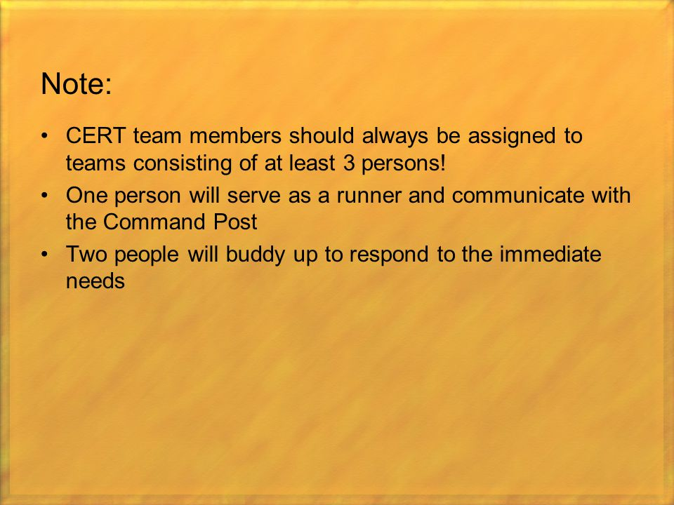 Note: CERT team members should always be assigned to teams consisting of at least 3 persons! One person will serve as a runner and communicate with th