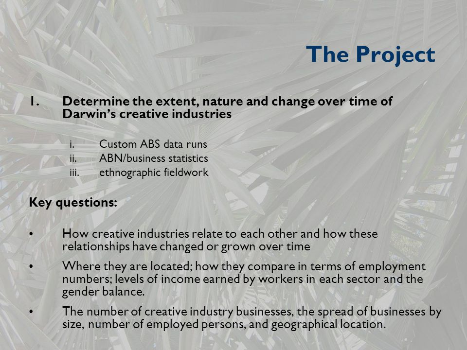 The Project 1.Determine the extent, nature and change over time of Darwin's creative industries i.Custom ABS data runs ii.ABN/business statistics iii.ethnographic fieldwork Key questions: How creative industries relate to each other and how these relationships have changed or grown over time Where they are located; how they compare in terms of employment numbers; levels of income earned by workers in each sector and the gender balance.