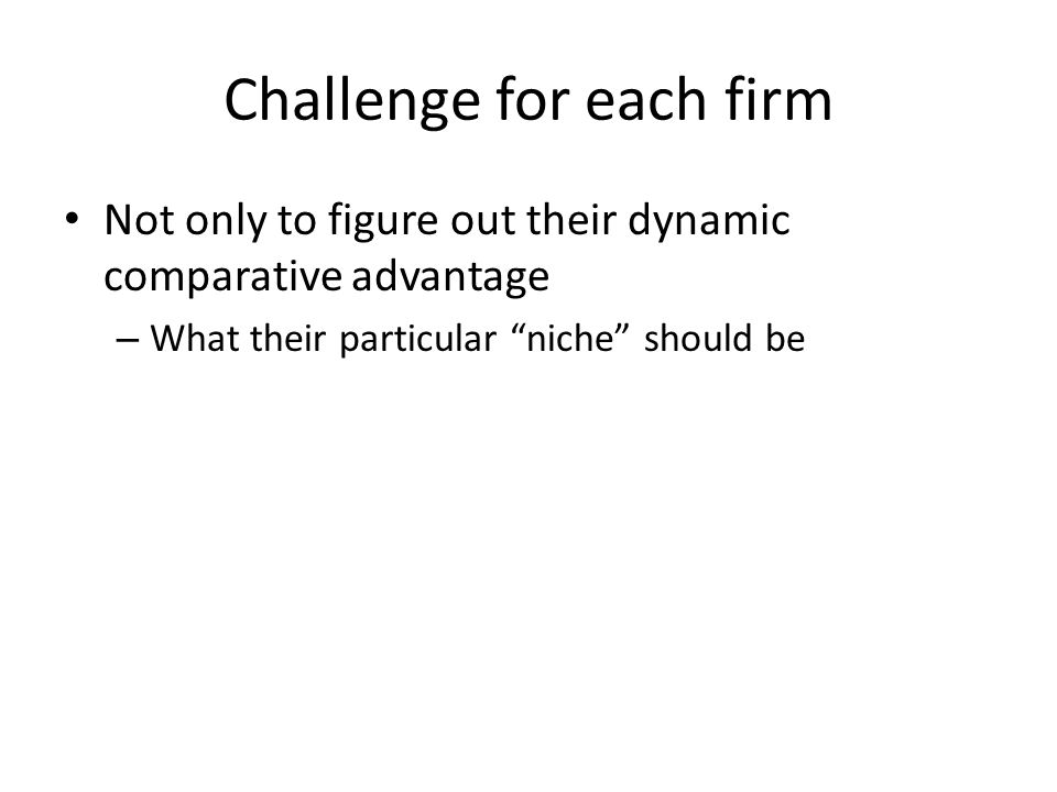 Challenge for each firm Not only to figure out their dynamic comparative advantage – What their particular niche should be