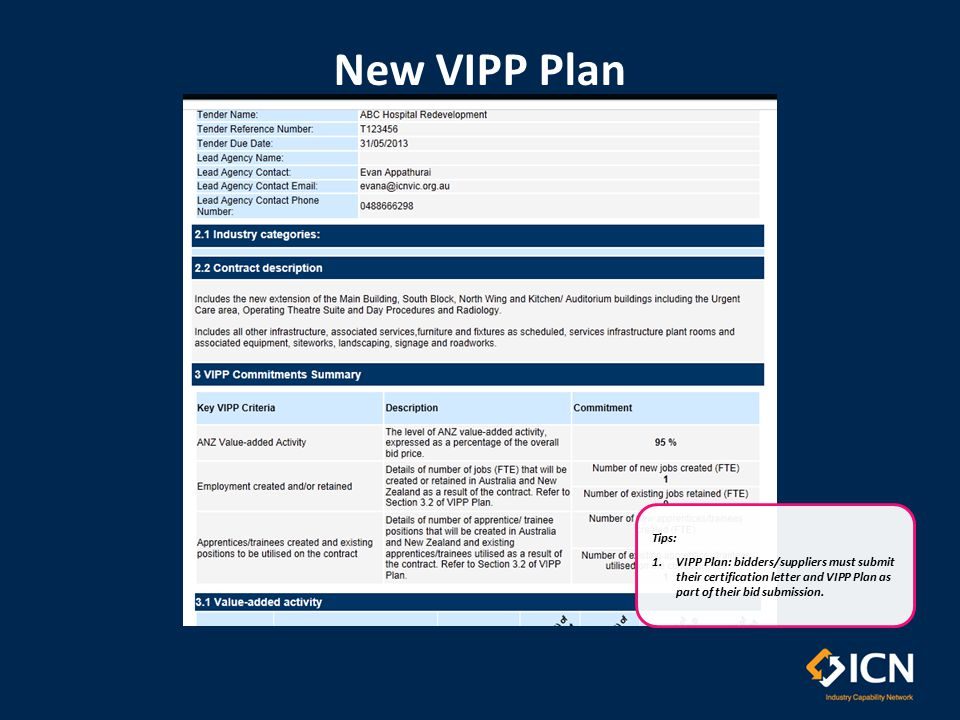 New VIPP Plan Tips: 1.VIPP Plan: bidders/suppliers must submit their certification letter and VIPP Plan as part of their bid submission.