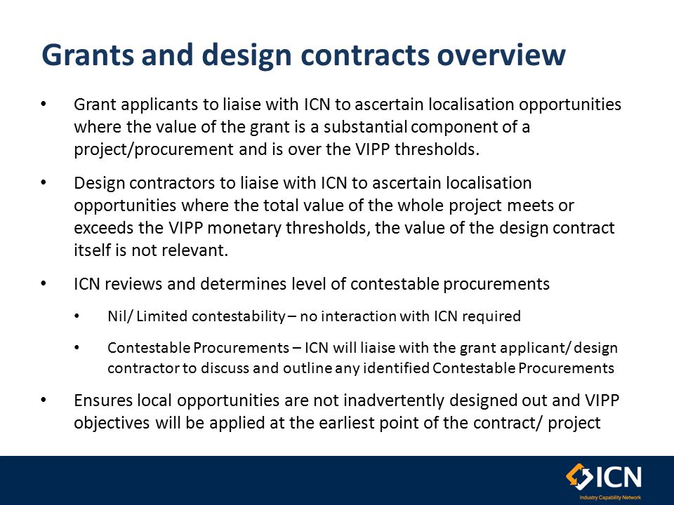 Grant & Design Process Timeline Key Department/ Agency Grant Recipient / Designer ICN Bidder/Supplier Process Dept/Agency/ICN Process Successful Grant Applicant/ Designer Selected ICN's involvement to help increase opportunities for SME's, is a condition of grant/contract.