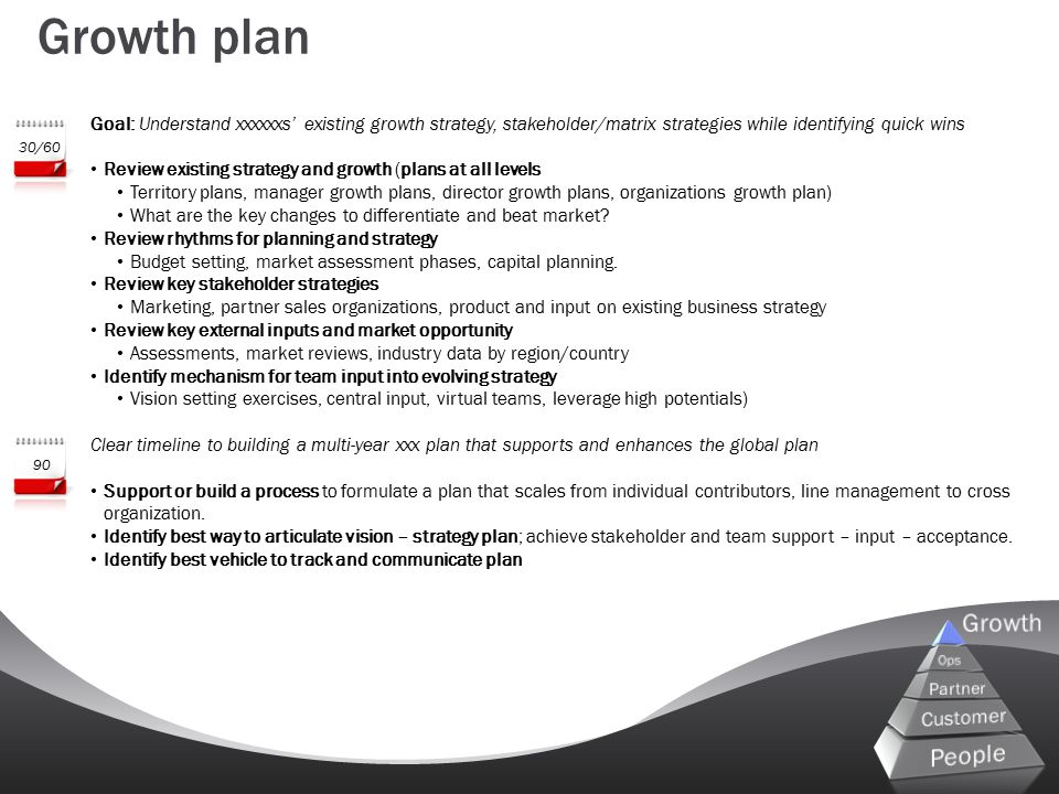 Goal: Understand xxxxxxs' existing growth strategy, stakeholder/matrix strategies while identifying quick wins Review existing strategy and growth (pl