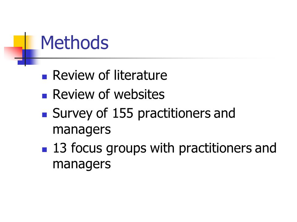 Objectives of survey To obtain some demographic information about participants in order to provide a context for the reporting of findings To ascertain staff members' access to research evidence, including barriers and facilitators To ascertain the extent to which staff members applied research evidence in their work, the obstacles that prevented them from doing so, any methods by which they were facilitated and their own participation in research To ascertain what types of research evidence were considered most useful including preferred methods of dissemination