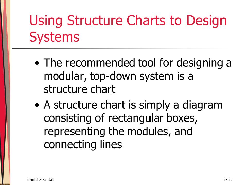 Kendall & Kendall16-17 Using Structure Charts to Design Systems The recommended tool for designing a modular, top-down system is a structure chart A structure chart is simply a diagram consisting of rectangular boxes, representing the modules, and connecting lines