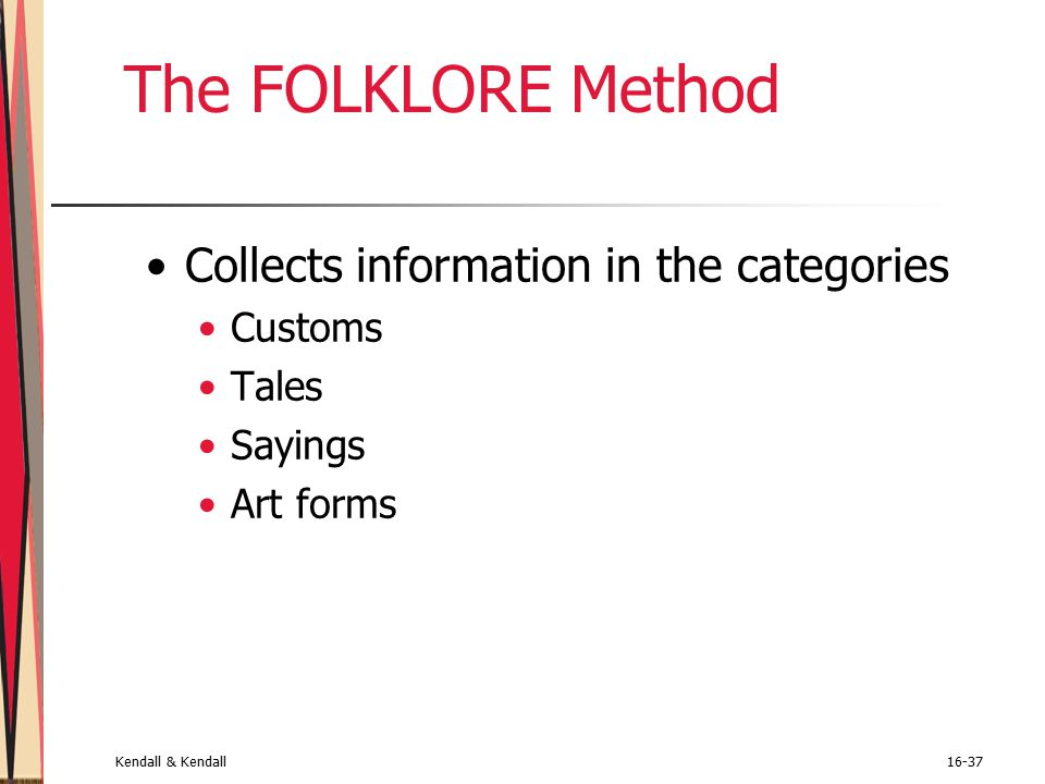 Kendall & Kendall16-37 The FOLKLORE Method Collects information in the categories Customs Tales Sayings Art forms