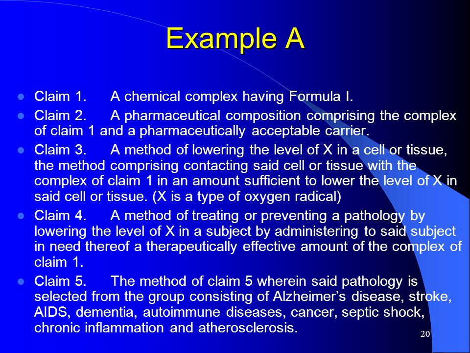 20 Example A Claim 1.A chemical complex having Formula I. Claim 2.A pharmaceutical composition comprising the complex of claim 1 and a pharmaceuticall