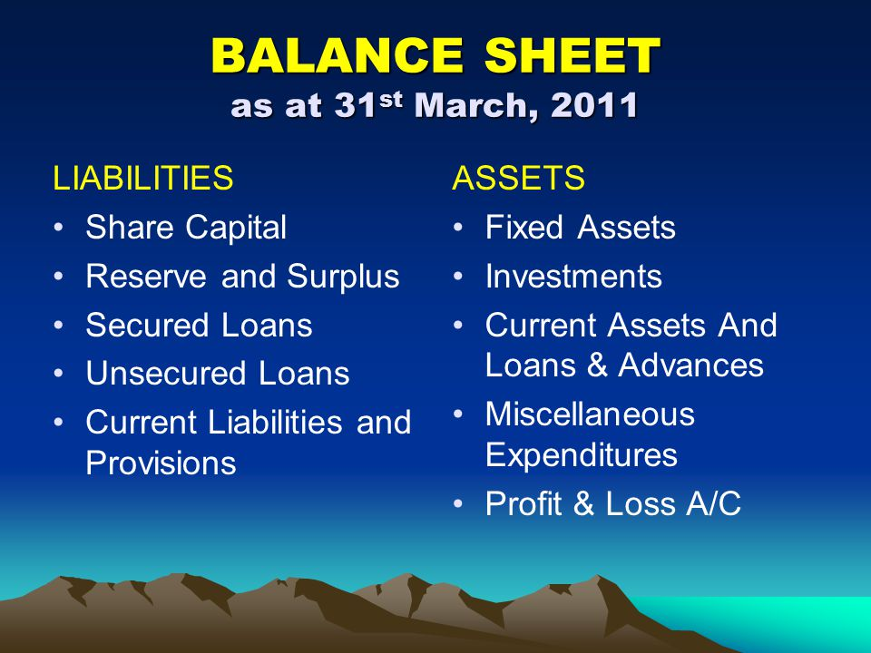 BALANCE SHEET as at 31 st March, 2011 LIABILITIES Share Capital Reserve and Surplus Secured Loans Unsecured Loans Current Liabilities and Provisions A
