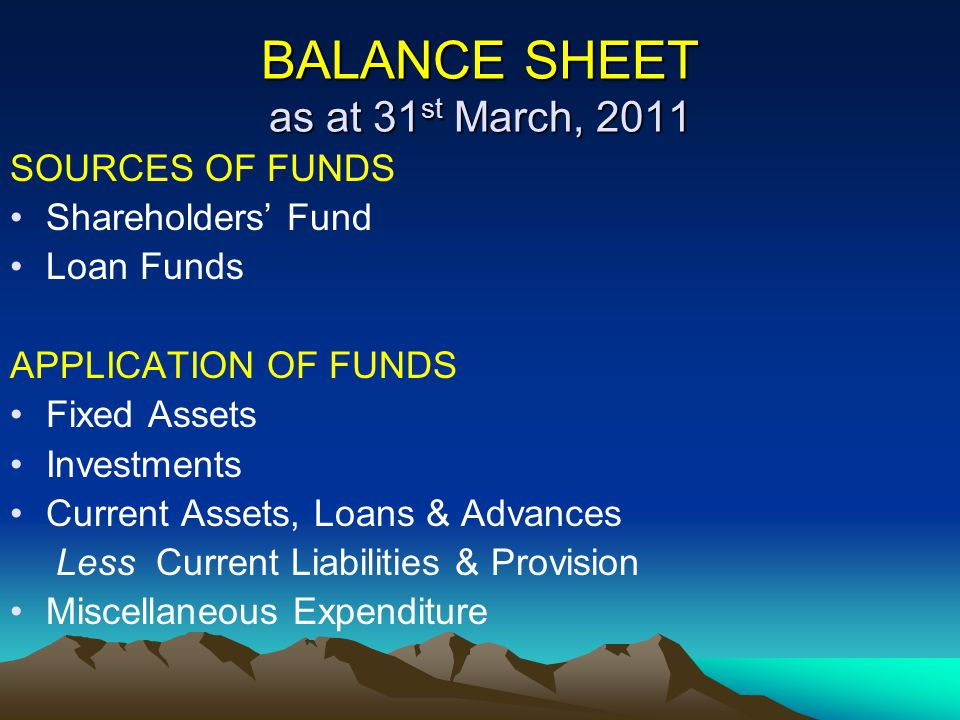 BALANCE SHEET as at 31 st March, 2011 SOURCES OF FUNDS Shareholders' Fund Loan Funds APPLICATION OF FUNDS Fixed Assets Investments Current Assets, Loa