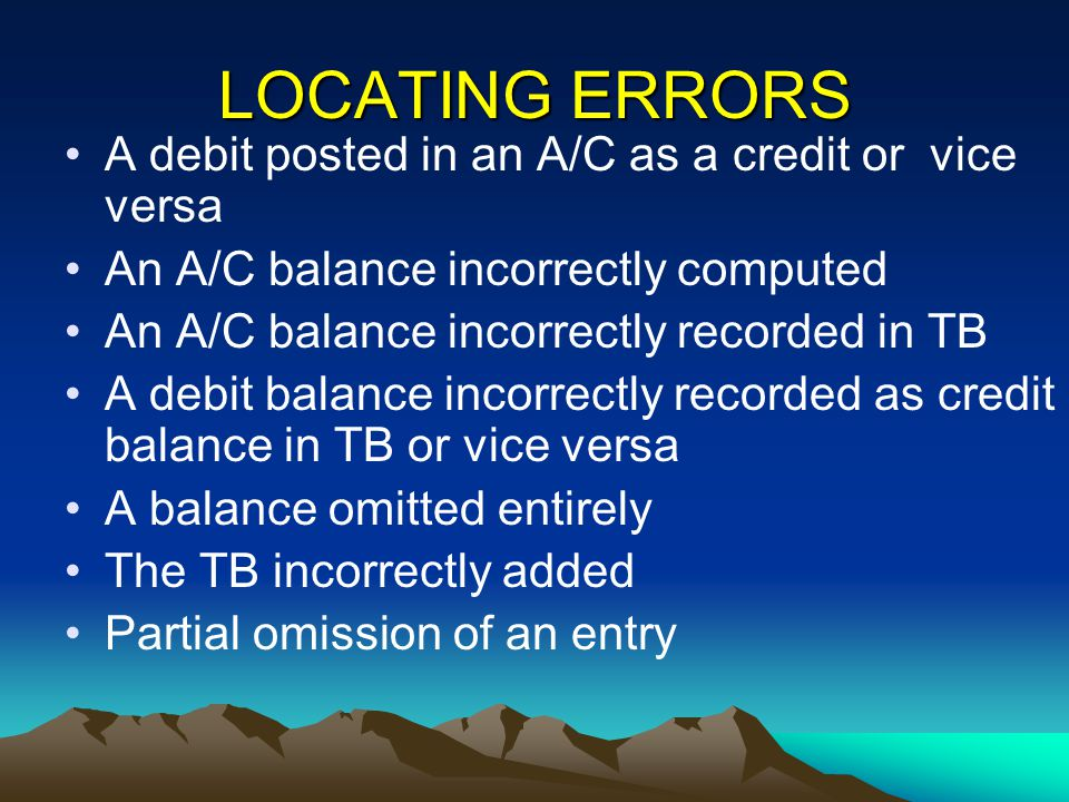 LOCATING ERRORS A debit posted in an A/C as a credit or vice versa An A/C balance incorrectly computed An A/C balance incorrectly recorded in TB A deb