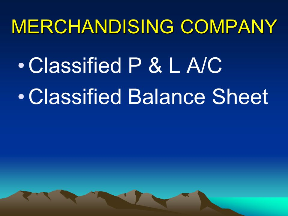 MERCHANDISING COMPANY Classified P & L A/C Classified Balance Sheet
