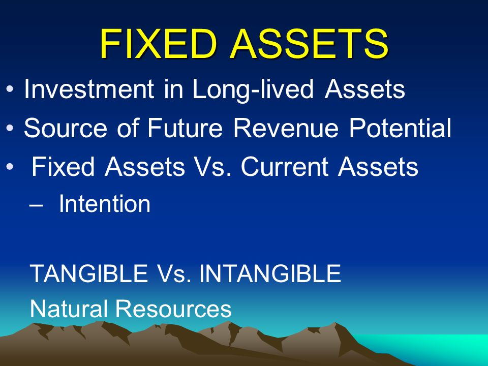 FIXED ASSETS Investment in Long-lived Assets Source of Future Revenue Potential Fixed Assets Vs. Current Assets – Intention TANGIBLE Vs. INTANGIBLE Na