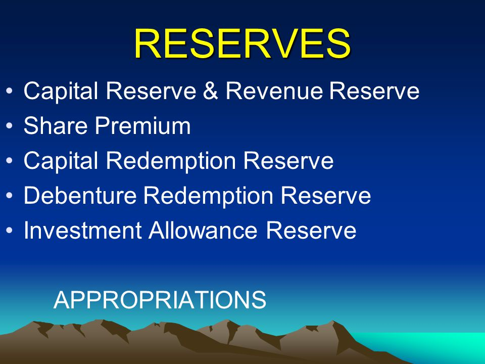 RESERVES Capital Reserve & Revenue Reserve Share Premium Capital Redemption Reserve Debenture Redemption Reserve Investment Allowance Reserve APPROPRI