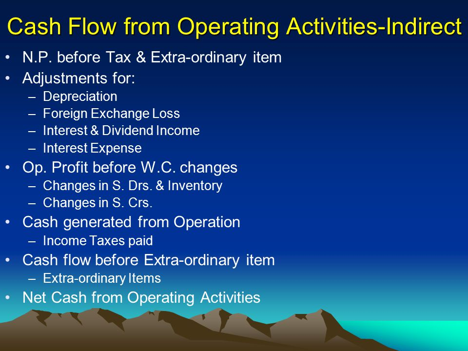 Cash Flow from Operating Activities-Indirect N.P. before Tax & Extra-ordinary item Adjustments for: –Depreciation –Foreign Exchange Loss –Interest & D