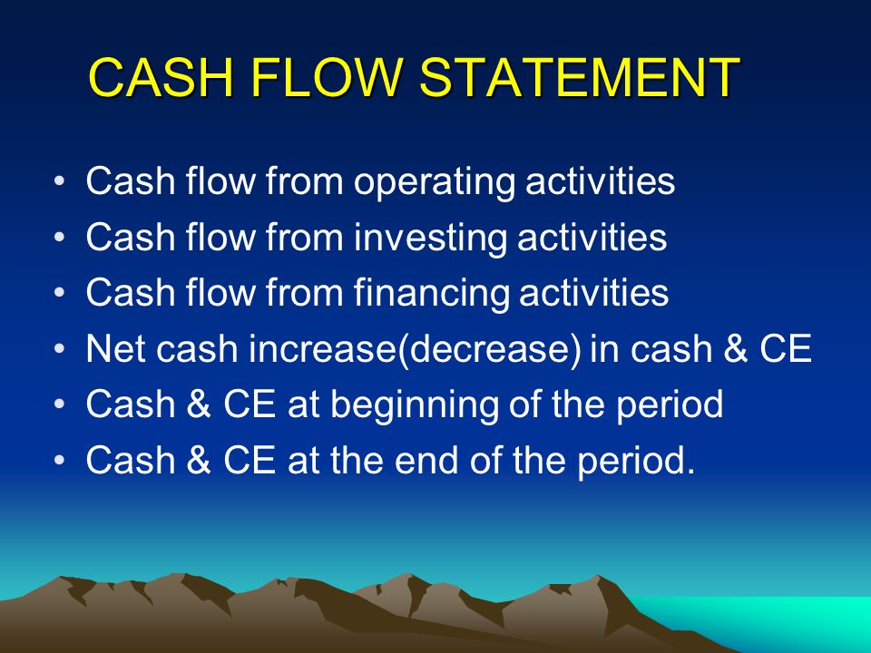 CASH FLOW STATEMENT Cash flow from operating activities Cash flow from investing activities Cash flow from financing activities Net cash increase(decr