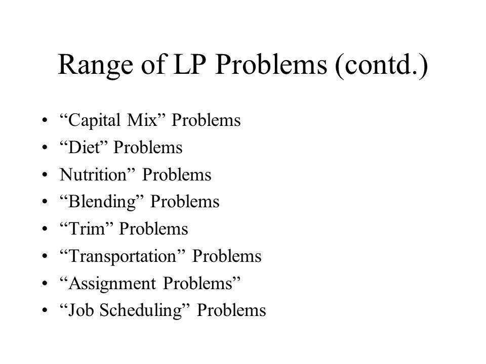 """Range of LP Problems (contd.) """"Capital Mix"""" Problems """"Diet"""" Problems Nutrition"""" Problems """"Blending"""" Problems """"Trim"""" Problems """"Transportation"""" Problems"""