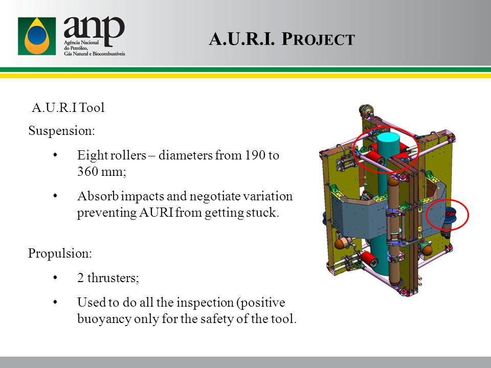 A.U.R.I. P ROJECT A.U.R.I Tool Propulsion: 2 thrusters; Used to do all the inspection (positive buoyancy only for the safety of the tool. Suspension: