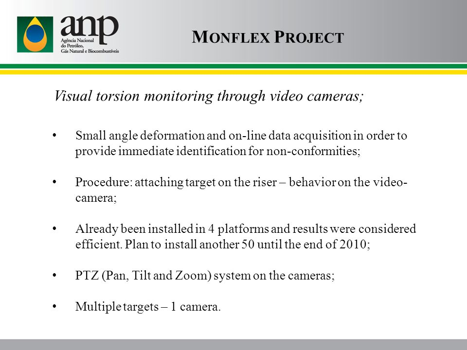 Visual torsion monitoring through video cameras; M ONFLEX P ROJECT Small angle deformation and on-line data acquisition in order to provide immediate