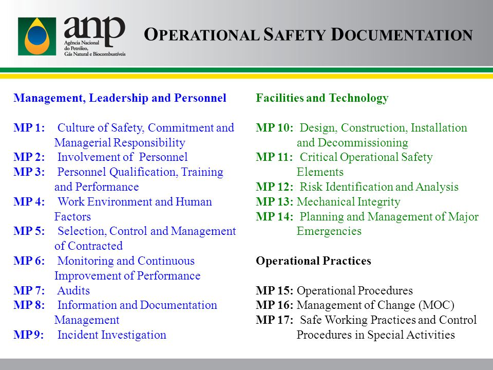 Management, Leadership and Personnel MP 1: Culture of Safety, Commitment and Managerial Responsibility MP 2: Involvement of Personnel MP 3: Personnel