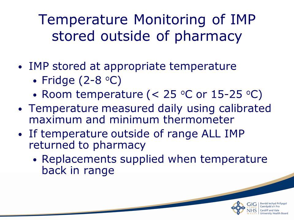 Temperature Monitoring of IMP stored outside of pharmacy IMP stored at appropriate temperature Fridge (2-8 o C) Room temperature (< 25 o C or 15-25 o